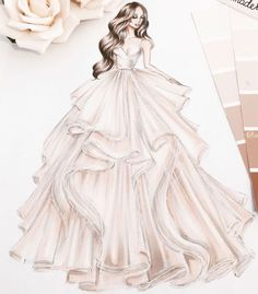 ideas fashion drawing dresses sketches gowns for 2019 Wedding Dress Sketches, Dress Design Sketches, Fashion Design Sketchbook, Fashion Design Drawings, Fashion Sketches, Drawing Sketches, Drawing Ideas, Drawing Faces, Drawing Art