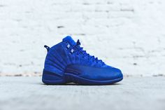 Air Jordan 12 Retro silhouette Grade school sizing Suede upper Jordan logo embossed metal eyelets Heel pulls Embroidered Jumpman on tongue Pebbled rubber toe gu Dream Shoes, New Shoes, Women's Shoes, Jordan Retro 12, Buy Shoes Online, Retro Shoes, High Top Vans, Blue Nike, Clearance Shoes