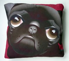 Black Pug cushion / pillow by sallyboyle1, via Flickr