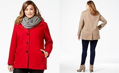 Calvin Klein Plus Size Wool-Cashmere Blend Single-Breasted Peacoat with Infinity Scarf