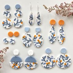 Sorry I haven't been very active recently, I've been working on some very exciting up coming projects that I'm hoping I can share… Ceramic Jewelry, Polymer Clay Jewelry, Diy Clay Earrings, Boho Earrings, Polymer Clay Projects, Bijoux Diy, Schmuck Design, Clay Beads, Clay Creations