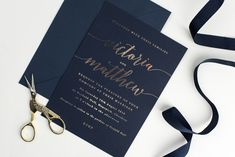 Navy and gold hot foil wedding invitations and stationery by Project Pretty Luxury Wedding Invitations, Wedding Stationery, Paper Goods, Wedding Ideas, Personalized Items, Navy, Hot, Pretty, Projects