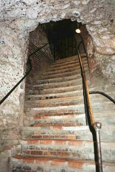 Steps leading from the Roman Vaults in Colchester Castle, Essex, England. The Norman Castle was built over Roman ruins