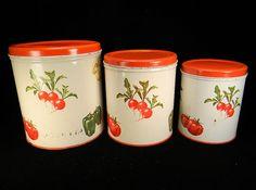 Vintage Decoware Colorful Fruits & Vegetables Canister Set