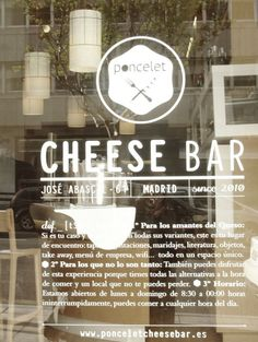 Poncelet Cheese Bar in what a great idea for a restaurant! Cheese Bar, Queso, Tapas, Spain, Restaurant, Madrid, City, Diner Restaurant, Restaurants