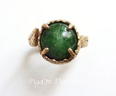 """Leaf&Chrome Diopside """"Forest"""" Ring-Made to Order Ring/Chrome Diopside Ring/Green Forest Ring in Brass"""