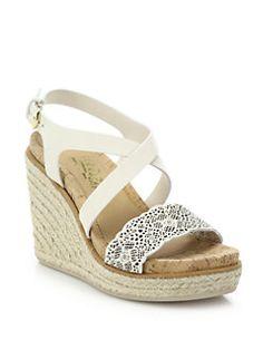 Salvatore Ferragamo - Gioela Raffia & Leather Platform Wedge Sandals
