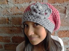 Crochet Pattern for Pink Slouchy Hat for Pre-Teen to by QUETITA