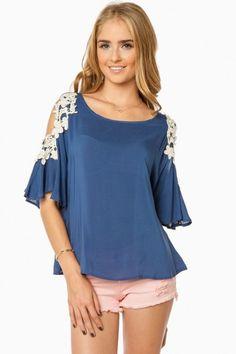 Crochet Shoulder Blouse in Blue