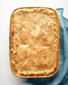 """Classic Chicken Potpie -- Added thyme and poultry seasoning, subbed celery for peas. Next time, either less broth or wider dish, ended up too """"wet."""" Crust was perfect."""
