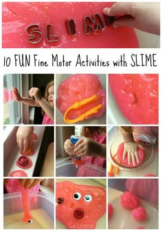 10 FUN Fine Motor Activity Ideas with SLIME. On Fine Motor Fridays at Lalymom. #KBN #Creativemamams #Playmatters