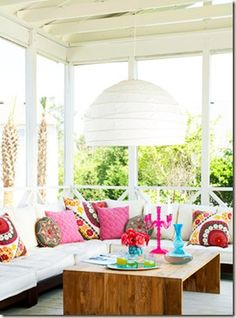 Gorgeous Porch with pops of color