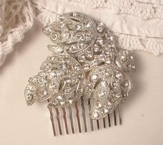 1920s Art Nouveau Deco TRUE Vintage Rhinestone Silver Filigree Leaf Bridal Hair Comb Antique Heirloom Pave Leaf Fur Clip to Unique Haircomb on Etsy, $87.99