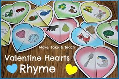 Rhyming Valentine Hearts. Fun center activity for learning rhyme.