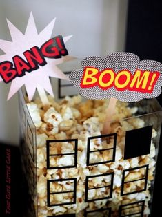 Bang! Boom! popcorn from Lego Superhero Birthday Party at Kara's Party Ideas. See more at karaspartyideas.com!