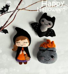 Cute felt Halloween SET of 3 ornaments Halloween witch felt bat decorations…