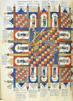 """The heavenly Jerusalem"", Commentary on the Apocalypse, in ""Beatus de Liebana; 'Silos Apocalypse'"", fol-208r, London British Library - Add. MS 11695, Northern Spain, c.1100"