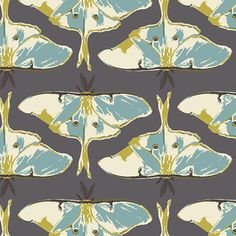 Insect Fabric | Moon Moth Print | Bug Fabric | Purple | Gray Blue | Olive Green | Pretty Pattern | Butterfly | Nature Fabric | Forest Print