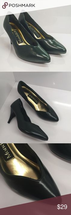 Deep Green Non-Slip Scalloped Heels, Size 6 Vintage non-slip heels in great condition. The shoes are a vintage size 6.5 but fit like a 6. They're a very deep green that can be mistaken for black if the lighting is dim. Perfect for a restaurant manager or anyone who walks through rain or ice in heels. Mondolfo Shoes Heels