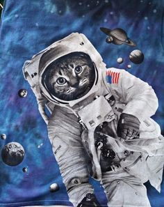 Cat Kitty Kitten Shirt 3X Intergalactic Astronaut Space Flight Walk Galaxy USA #ODM #EmbellishedTee