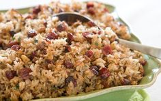 Wild rice with cranberries and walnuts.