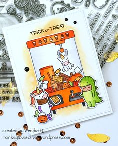 the Lawn Fawn blog: Halloween Card by Wendie (using You're Claw-some, Costume Party)