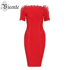 Free Shipping! 2016 New Chic Exquisite Scallop Cross Criss Lace Up Off the Shoulder Celebrity Party Style HL Bandage Dress