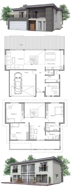 Modern House floor plans and outside images. Modern House Plan to Modern Family. Dream House Plans, Modern House Plans, Small House Plans, Casas Containers, House Layouts, Future House, Building A House, Architecture Design, New Homes