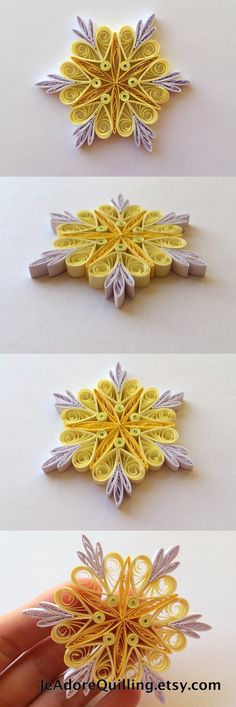 Snowflakes Yellow White Christmas Tree Decor Winter Ornaments Gift Toppers Fillers Office Corporate Paper Quilling Quilled Handmade Art