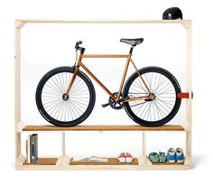 This shoe shelf doubles as a bicycle rack, postfossil.ch.