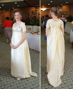 Regency Drop Front. This yellow gown was made of an Indian sari and the pattern was taken from Janet Arnold's Patterns of Fashion.