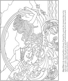 mermaid coloring page by Dover Publications Dover Coloring Pages, Coloring Pages For Grown Ups, Pattern Coloring Pages, Printable Coloring Pages, Adult Coloring Pages, Coloring Sheets, Coloring Books, Free Coloring, Colorful Pictures