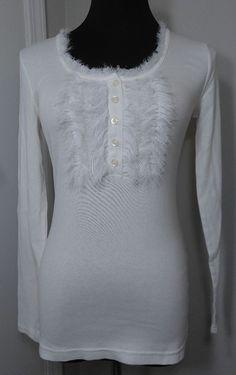 Banana Republic White S Shirt Henley Style Chic Fuzzy Bust NWOT Cotton Blend #BananaRepublic #Henley #Casual