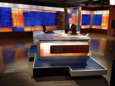 Explore photos of KERO-TV's TV set design in this interactive gallery of the studio. Tv Set Design, Stage Design, Reception Counter, Tv Sets, Tv Decor, New Set, Good Job, Design Trends, Studio Design