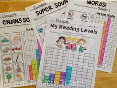 "Empower young students by implementing age-appropriate data collection in your primary classroom. The data is how well they're doing with reading/writing, so they can see how they've improved! (Pictured: Sample pages from ""Student Data Graphs, Student Data Binders, Data Folders, Student Led Conferences, Student Self Assessment, Kindergarten Assessment, Kindergarten Reading, Kindergarten Classroom, Teaching Reading, Student Data Tracking"