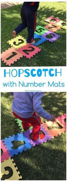 Hopscotch with Number Mats - Teach Me Mommy Physical Activities For Preschoolers, Gross Motor Activities, Summer Activities For Kids, Infant Activities, Science Activities, Outdoor Activities, Summer Games, Summer Fun, Teaching Babies