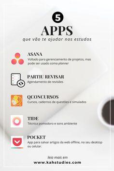 5 Apps Que Vão Te Ajudar Nos Estudos - Kah Studies #estudos #apps #aplicativos #websites #ferramentas #estudante #concursos #enem #oab #asana #partiurevisar #qconcursos #tide #pocket #study #organização