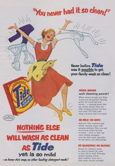 1950s Tide Laundry Detergent Illustrated Vintage Advertisement ~ Laundry Room Wall Art Decor  Original print ad, featuring an illustration of 1950s