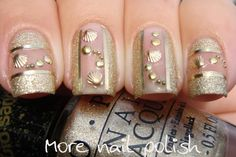 Gold nails just for me featuring shell studs - More Nail Polish