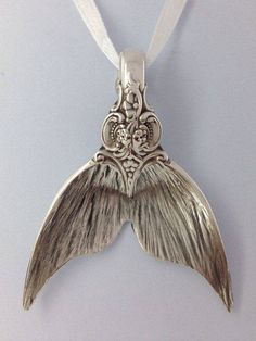 Mermaid tail pendant made from an old silver spoon