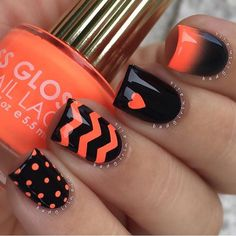 Halloween Mani!!! ✨Nails by @badgirlnails ✨Polish: @flossgloss 'Bikini Coral' & 'Black Holy'