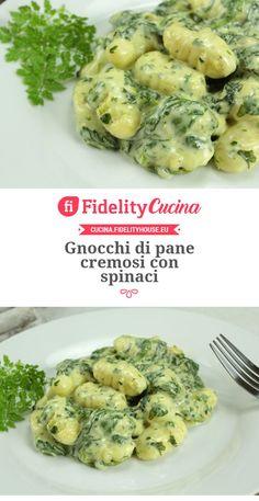 Gnocchi di pane cremosi con spinaci