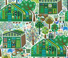 Herbie's Green Oasis fabric by christinewitte on Spoonflower - custom fabric Oh boy, does this look familiar!  ;) Adorable!!!