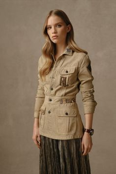 Rendered in Safari Tan, the belted Bacall Embellished Cotton Jacket features exquisitely beaded patches—including Ralph Lauren's moniker. Discover more outerwear from Pre-Fall 2021. Ralph Lauren Collection, Cotton Jacket, Glamour, Elegant, Fall, Coat, Safari, Fabric, Patches