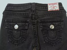 Here in NYC we love black True Religion jeans! They have great style and these have the twisted leg seams to be a truly awesome pair of women's jeans!