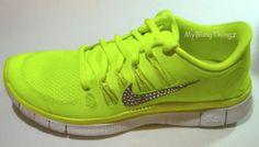 sale retailer afa90 c5829 Nike Free 5.0+ Volt Neon Yellow Running Shoes w Swarovski Crystal Elements  Bling