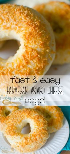 Easy Parmesan Asiago Cheese Bagels will dazzle your tastebuds. The sharp, crunchy cheese paired with the  chewy bagel is sure to leave anyone speechless.