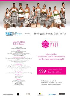 """Miss World Fiji """"The Final"""" on July 25th at The Pearl South Pacific Resort in Deuba."""