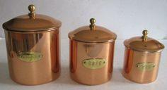 French copper storage tins