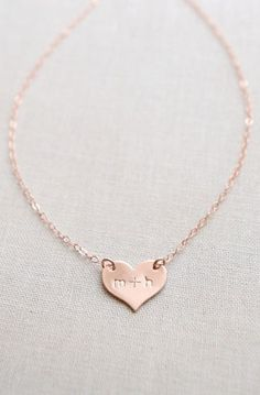 Small Heart Necklace / Engraved Necklace